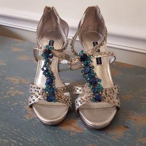Antonio Melani Silver and Rhinestone Heels